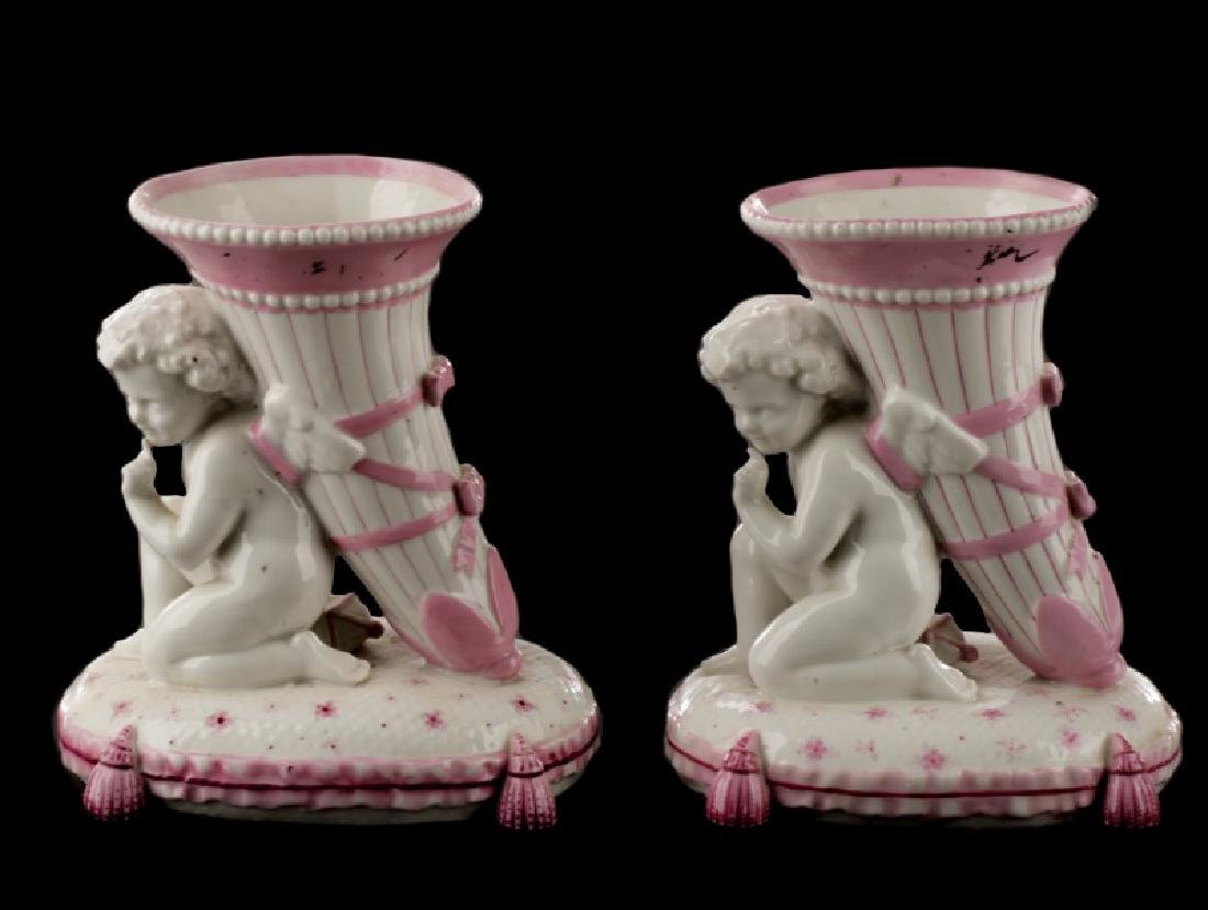 Pair, Sevres Style Porcelain Winged Cherub Vases