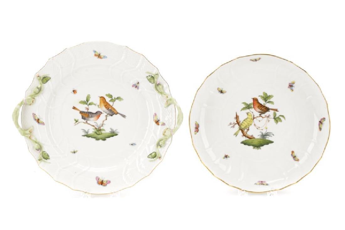 Two Herend Rothschild Bird Serving Pieces