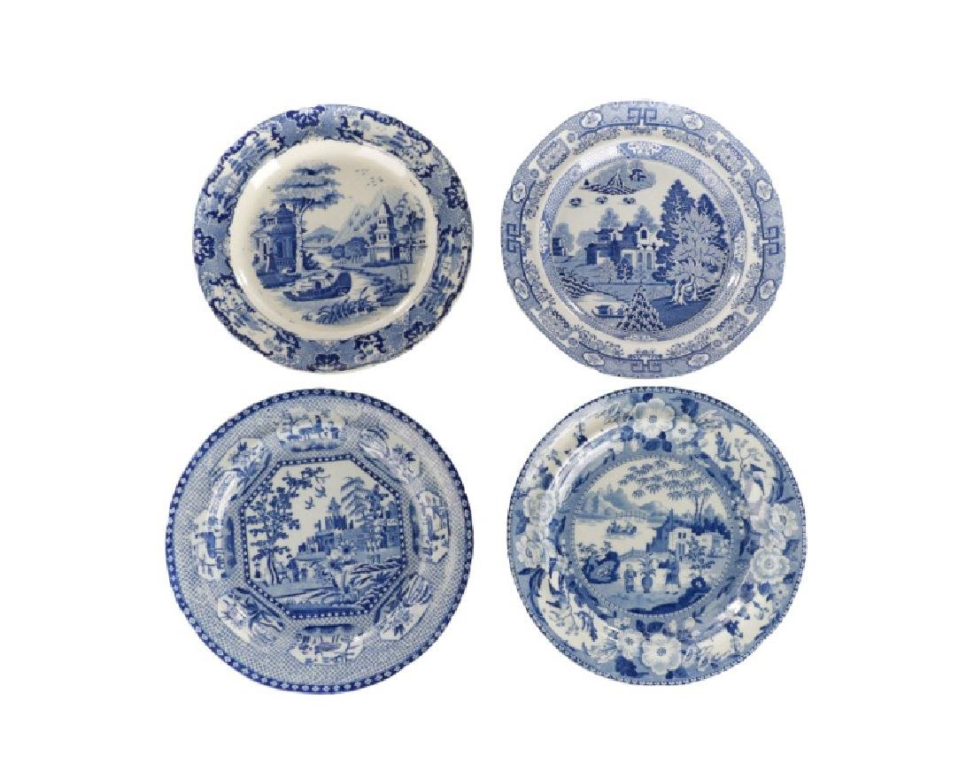 Group of 4 Early Blue & White Earthenware Plates