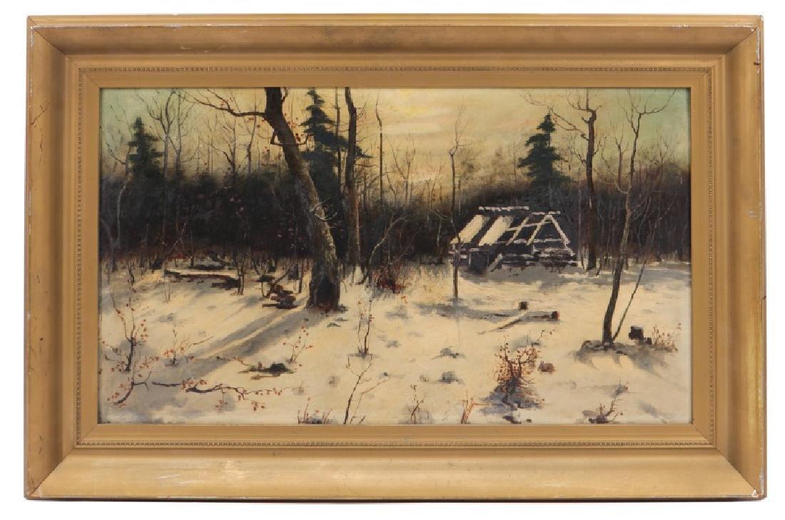 "American School, ""Ruins in the Snow"", Oil on Board"