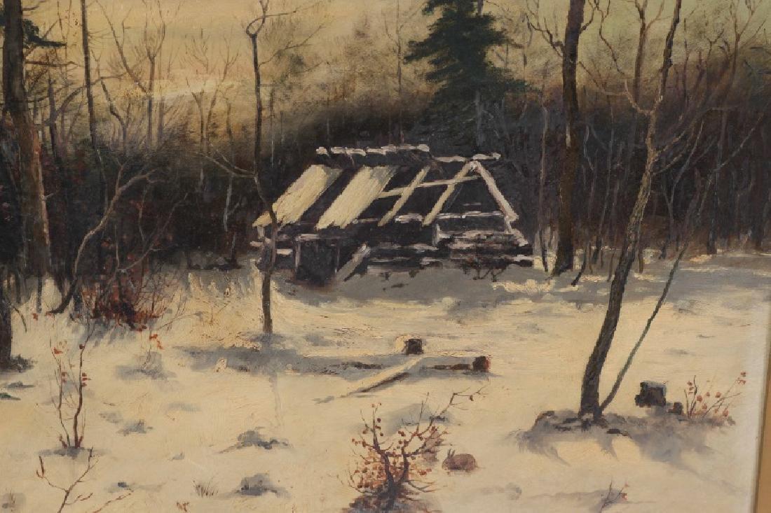 "American School, ""Ruins in the Snow"", Oil on Board - 3"