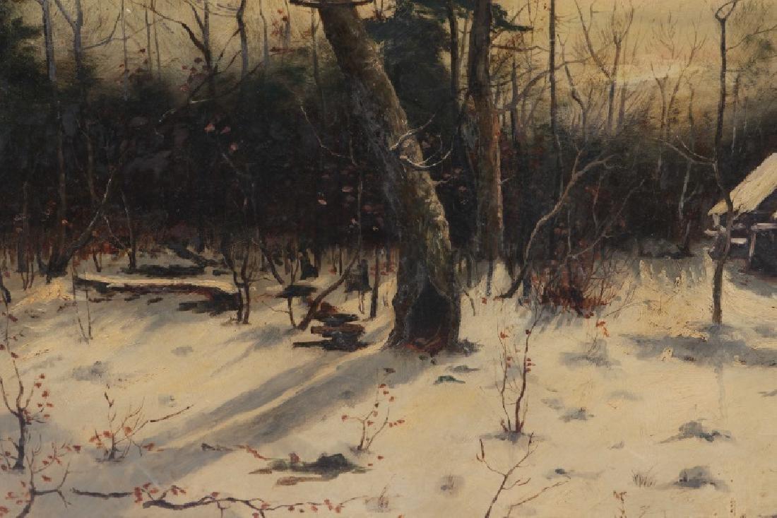 "American School, ""Ruins in the Snow"", Oil on Board - 4"