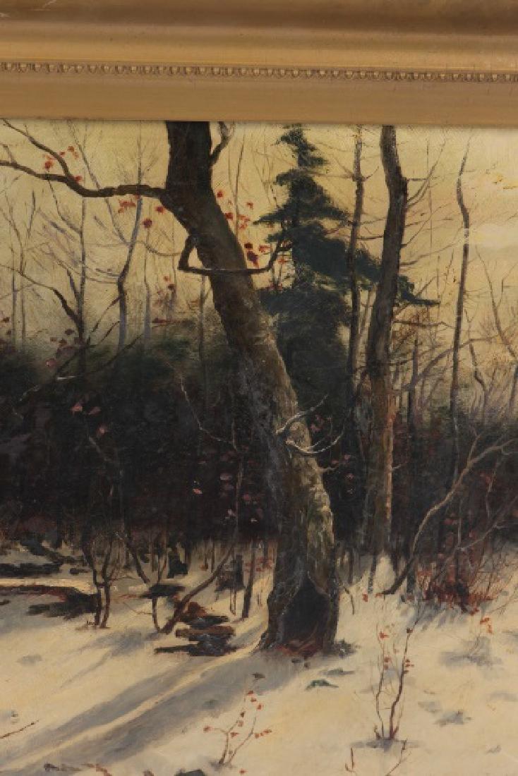 "American School, ""Ruins in the Snow"", Oil on Board - 5"