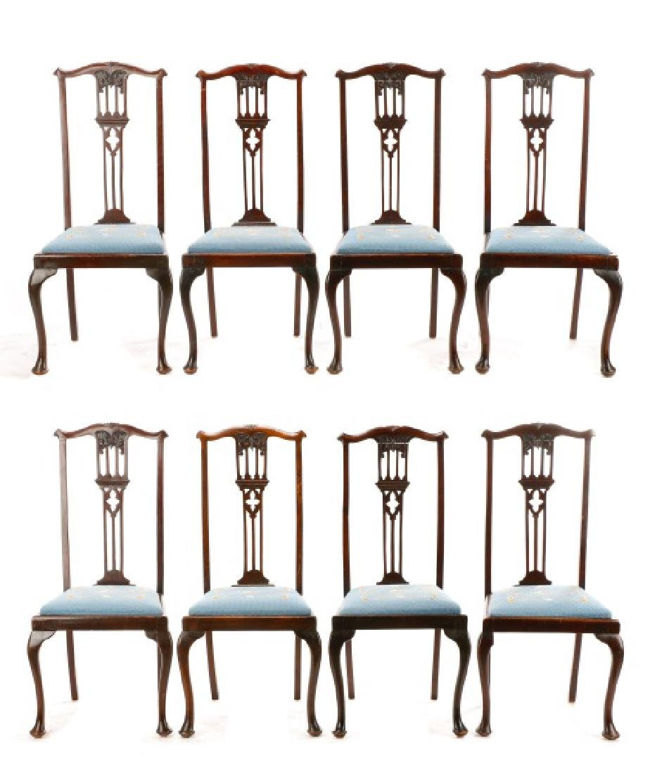 Set, 8 Mahogany Gothic Revival Style Dining Chairs