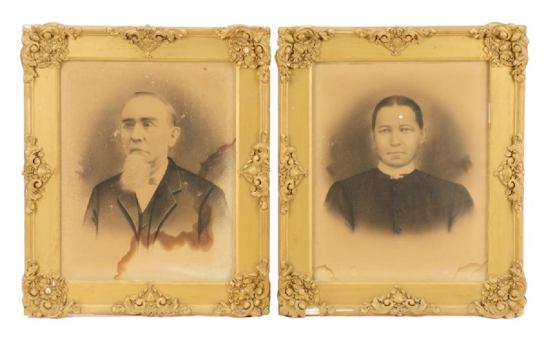 Pair American Victorian Husband and Wife Portraits