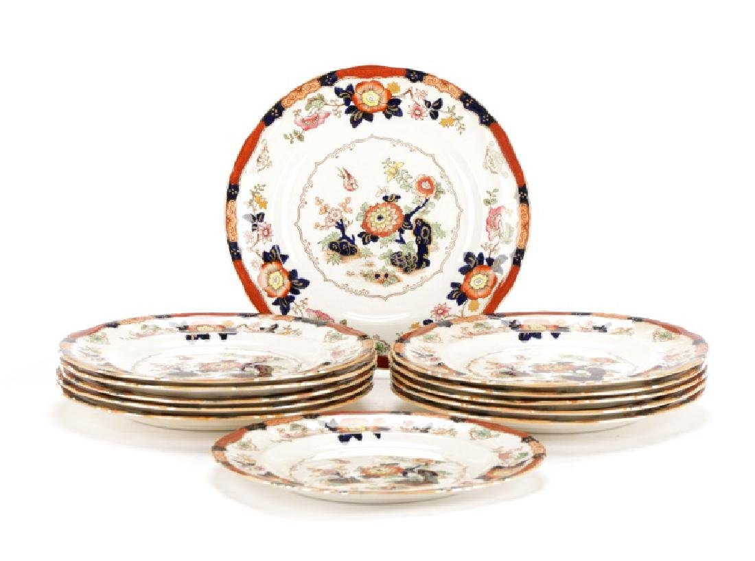 Set of 11 English Ashworth Imari Style Plates