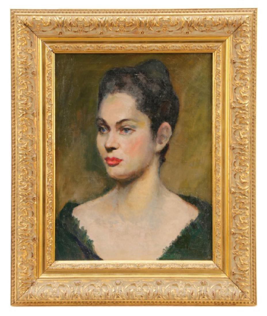 """American School, """"Portrait of a Blue-Eyed Lady"""""""