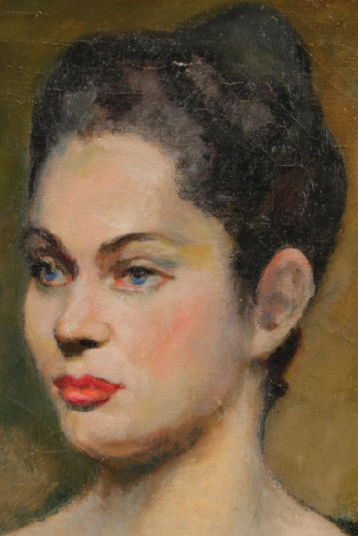 """American School, """"Portrait of a Blue-Eyed Lady"""" - 2"""