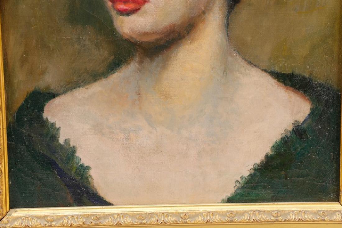 """American School, """"Portrait of a Blue-Eyed Lady"""" - 3"""