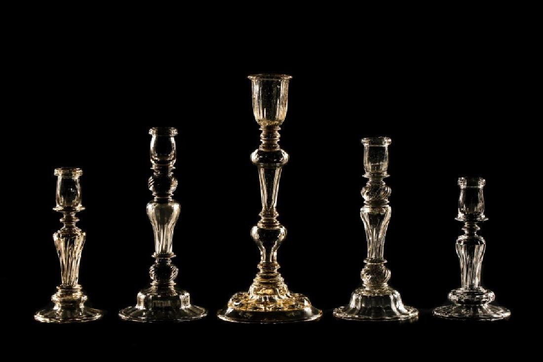 Set of 5 Venetian Blown Glass Candle Holders