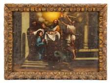 """Italian School, """"Nativity Scene,"""" Oil on Board"""