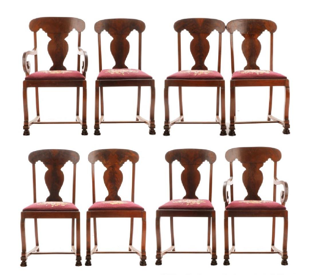 Set, 8 American Empire Revival Style Dining Chairs