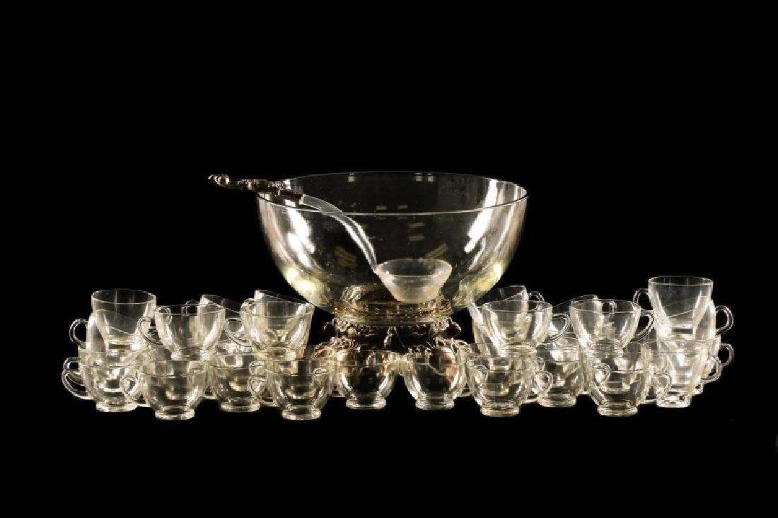 New York Silverplate Punch Bowl w/ 36 Glass Cups