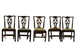 Set 5 Chippendale Style Carved Oak Dining Chairs