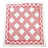 American Red & White Triple Irish Chain Quilt