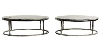 Pair of White Marble Top & Chrome Coffee Tables