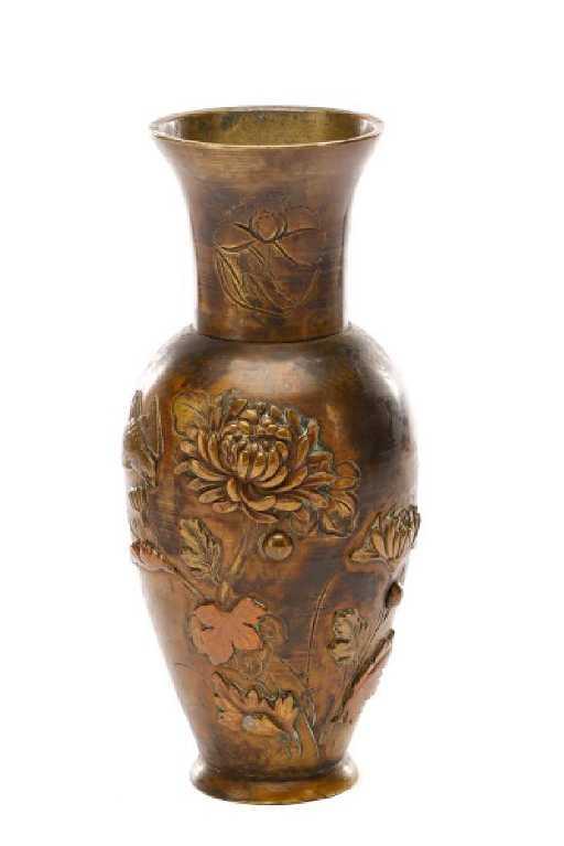 Japanese Meiji Bronze Mixed Metal Bud Vase