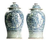 Pair of Chinese Blue  White Temple Jars