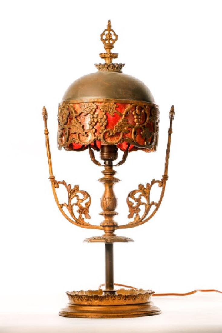 Oscar Bach Mixed Metal and Mica Table Lamp