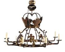 """Pair of Iron & Gilt """"Crown"""" Chandeliers"""