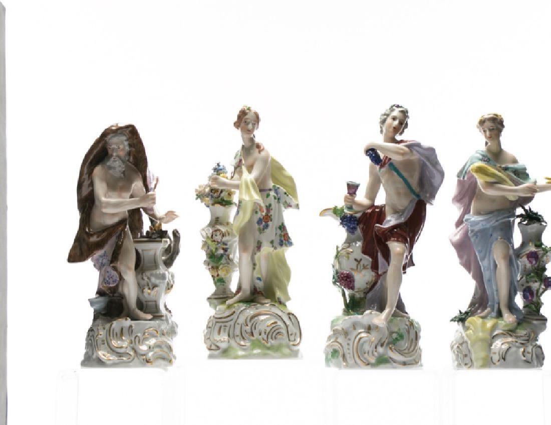 "Group, 4 Porcelain Dresden Figurines ""Seasons"""