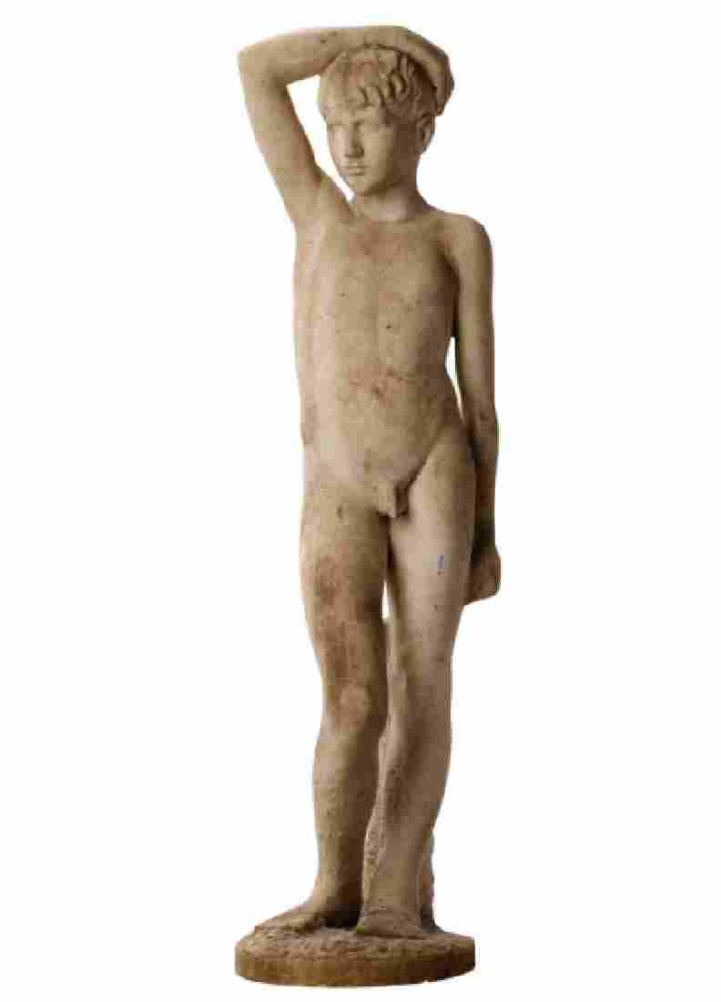 Life Size Cast Stone Garden Statue, Standing Nude Male