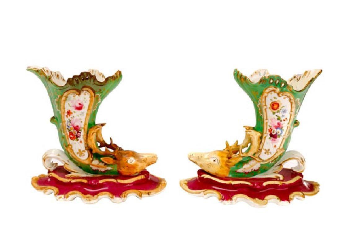 Pair, Paris Porcelain Cornucopia Vases, 19th C