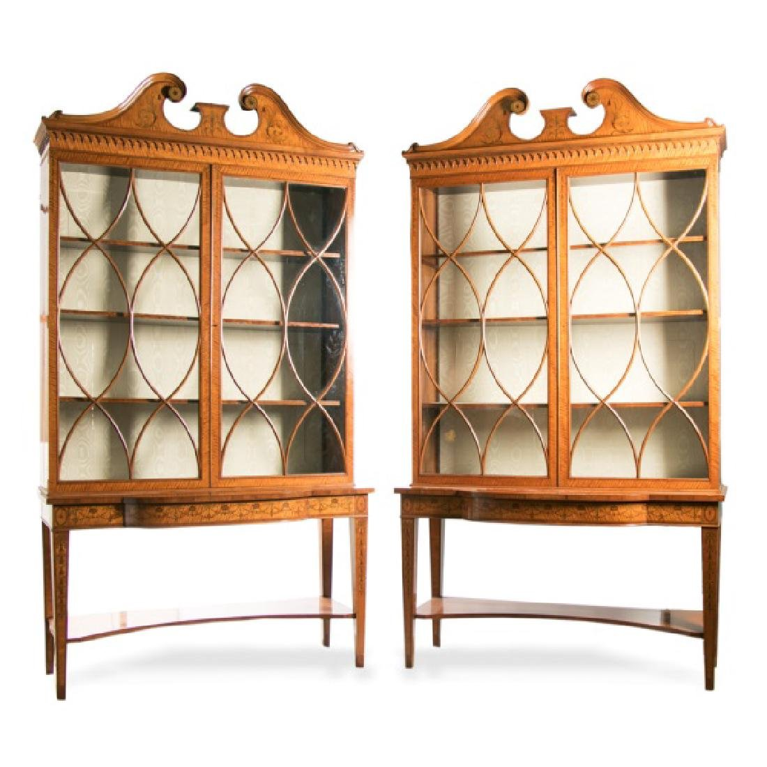 Pair of Sheraton Revival Satinwood Cabinets