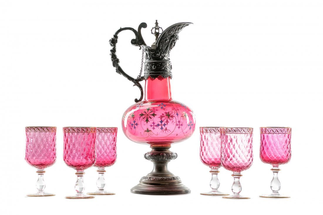 19th C Continental Cranberry Glass Ewer w/ Goblets