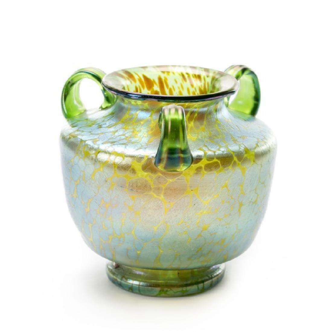 Loetz Style Green Oil Spot Art Glass Vase
