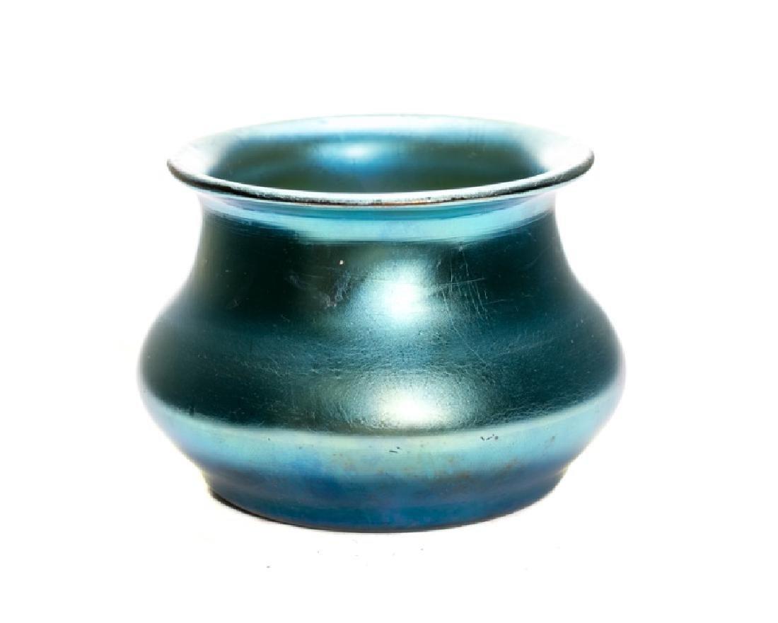 Durand Blue Iridized Glass Low Bowl