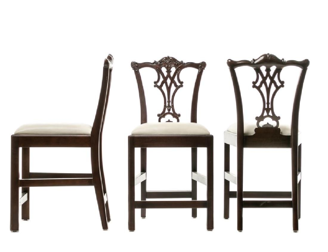Set of Three Chippendale Style Bar Stools