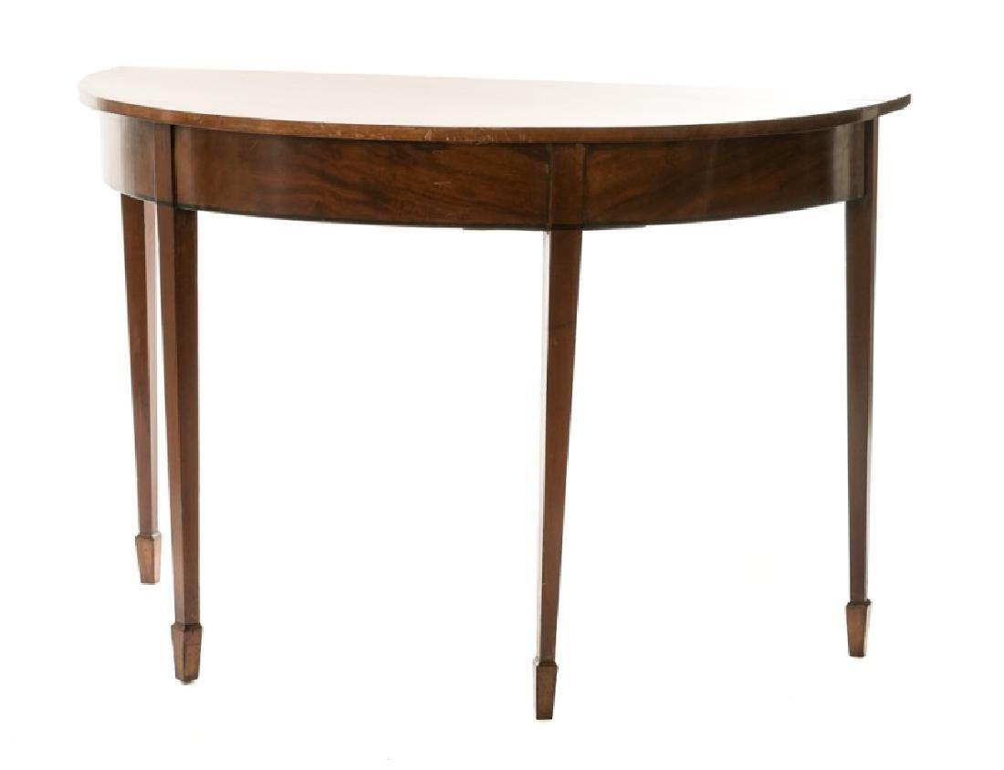 19th C. English Mahogany Demilune Table