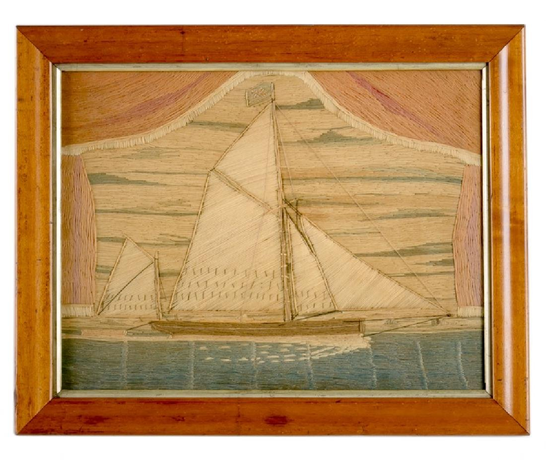 English Framed Wool Work of Ship, Dated 1835