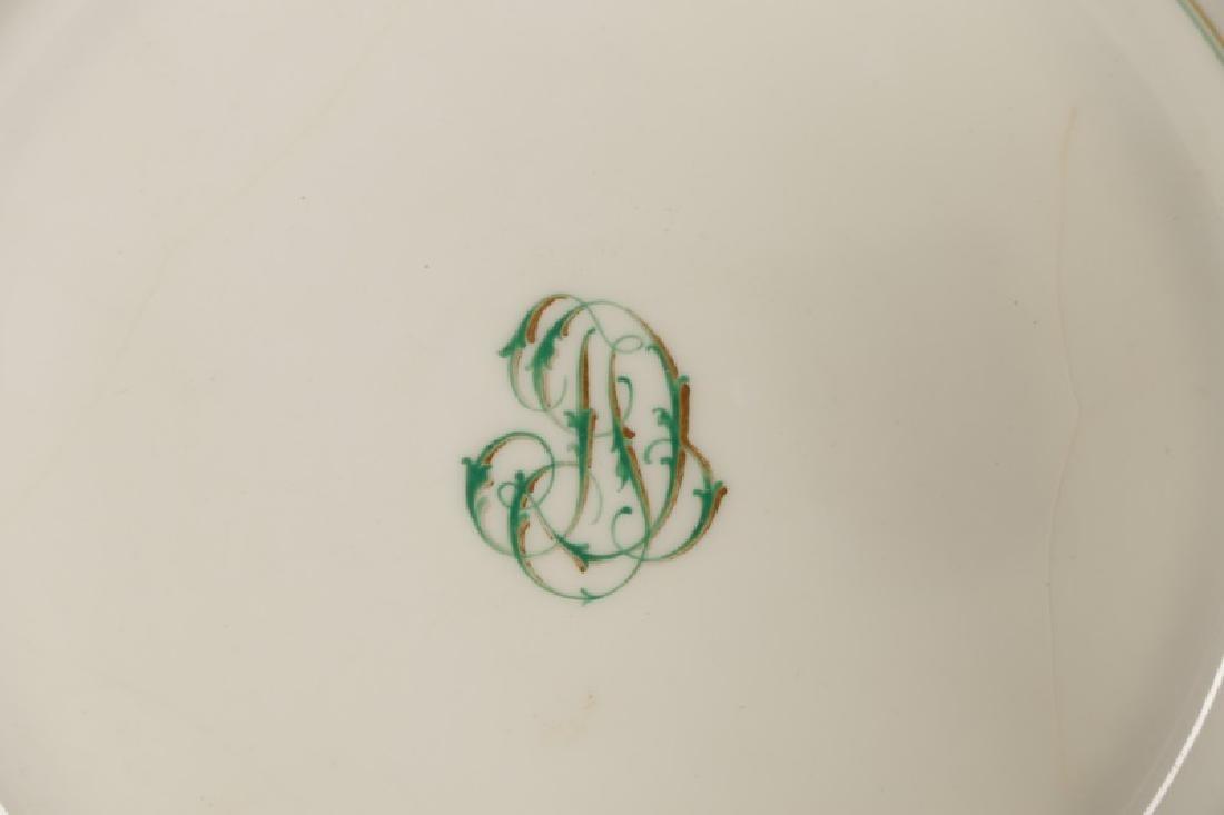 31 Monogrammed Green & Gilt Porcelain Plates - 2