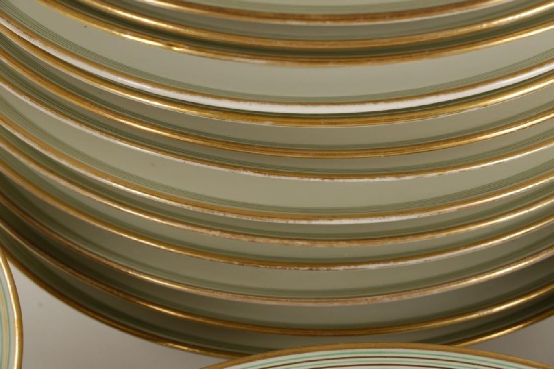 31 Monogrammed Green & Gilt Porcelain Plates - 3