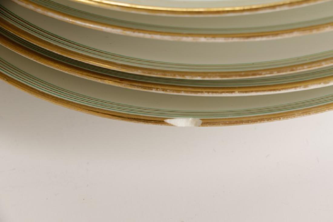 31 Monogrammed Green & Gilt Porcelain Plates - 4