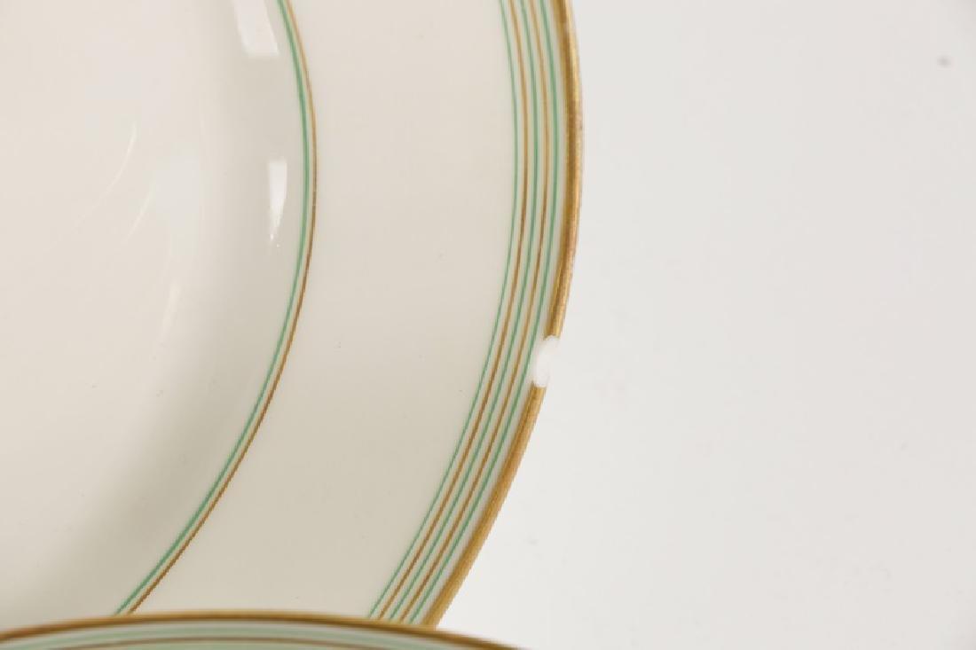 31 Monogrammed Green & Gilt Porcelain Plates - 5