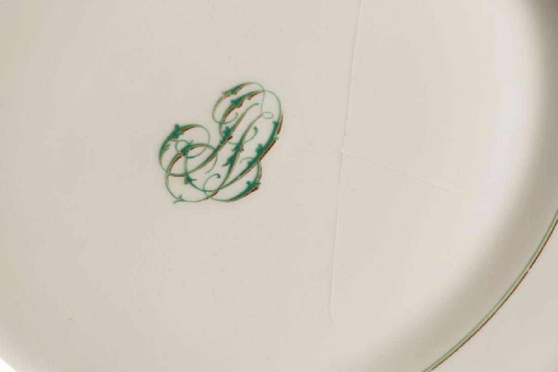 31 Monogrammed Green & Gilt Porcelain Plates - 6