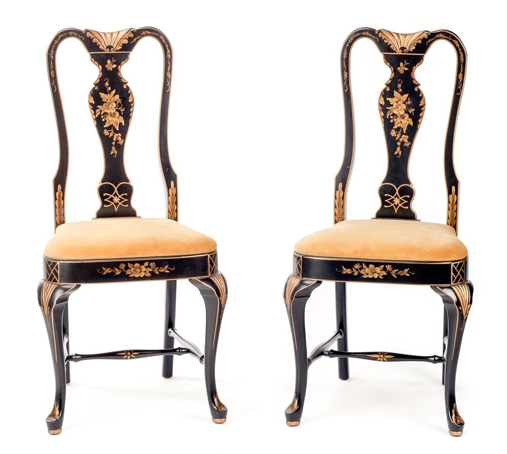 Pair of Queen Anne Style Chinoiserie Chairs