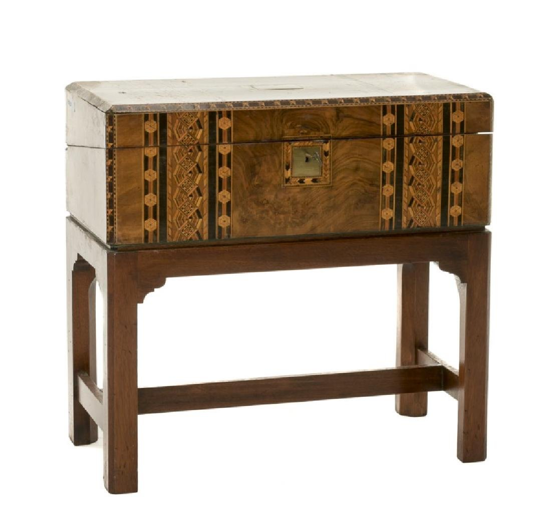 19th C. English Walnut Inlaid Lap Desk On Stand