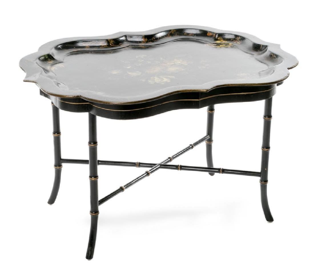 19th C. Papier Mache Black Lacquered Tray Table