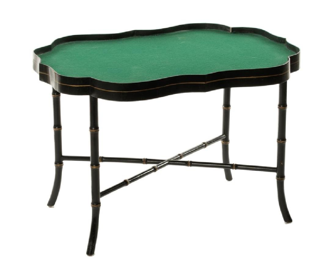 19th C. Papier Mache Black Lacquered Tray Table - 2