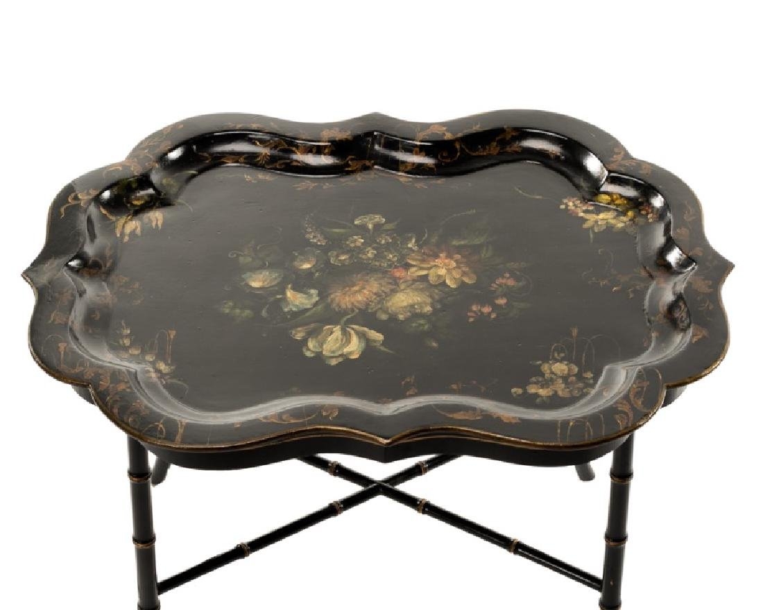 19th C. Papier Mache Black Lacquered Tray Table - 3