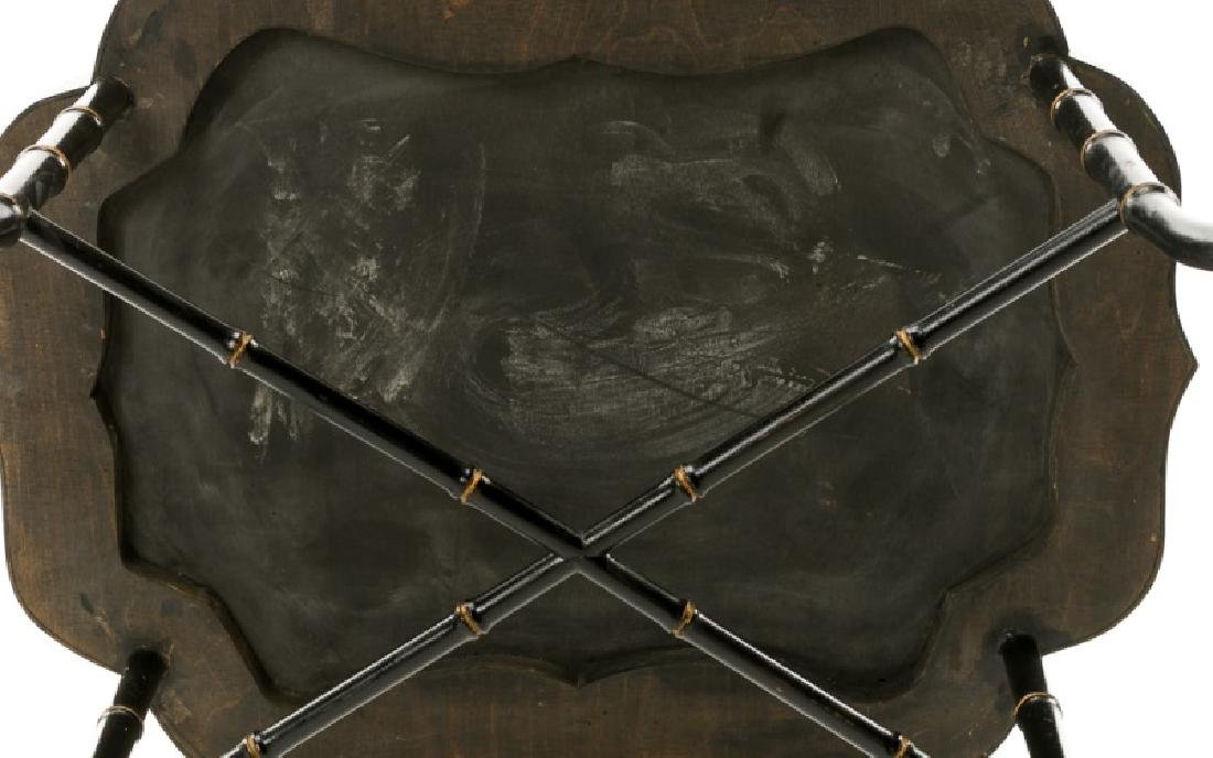 19th C. Papier Mache Black Lacquered Tray Table - 4