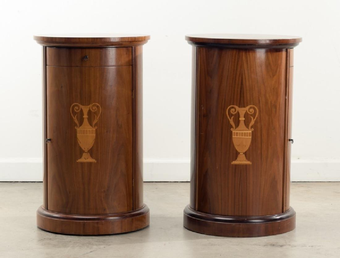 Pair of Neoclassical Style Inlaid Drum Side Tables