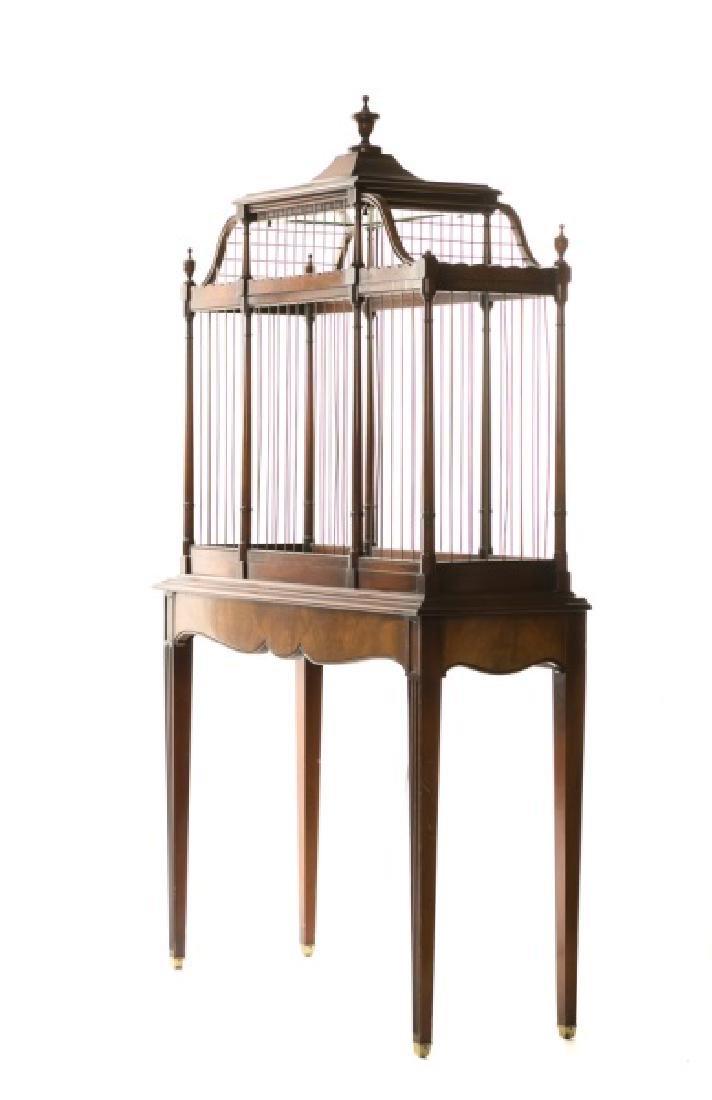 Carved Mahogany Illuminated Birdcage on Stand
