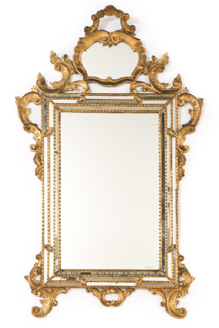 George III Chippendale Style Giltwood Wall Mirror