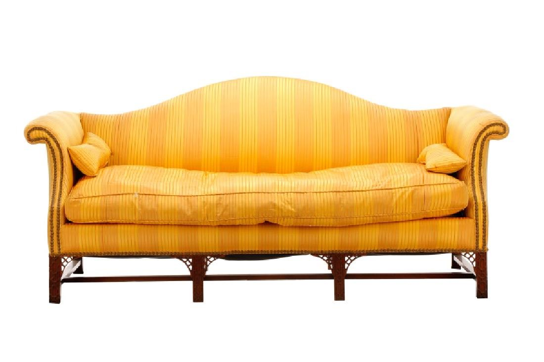 Chippendale Style Camel Back Upholstered Sofa