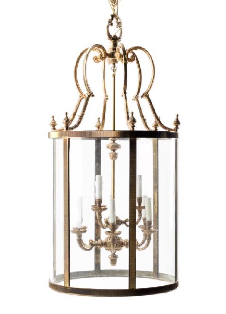 Brass & Glass Round Nine Light Foyer Lantern